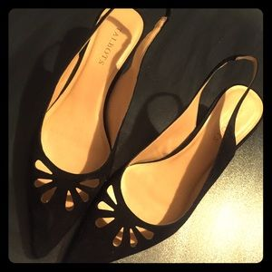 Black suede slig strap Talbots heels